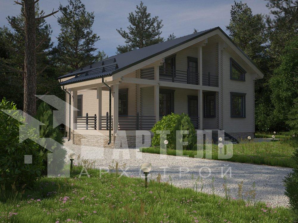 двухэтажный дом из профилированного бруса площадью свыше 200 кв. м. с  балконом, мансардой, террасой, проект Вариант 11 П фотография 4237