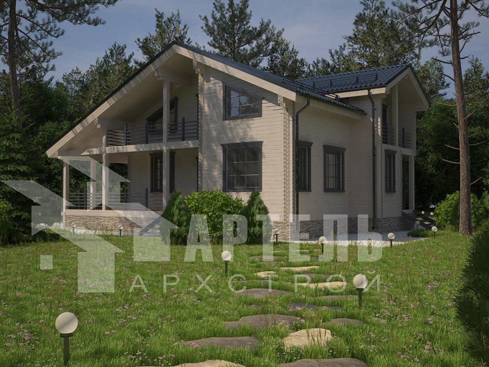 двухэтажный дом из профилированного бруса площадью свыше 200 кв. м. с  балконом, мансардой, террасой, проект Вариант 11 П фотография 4238