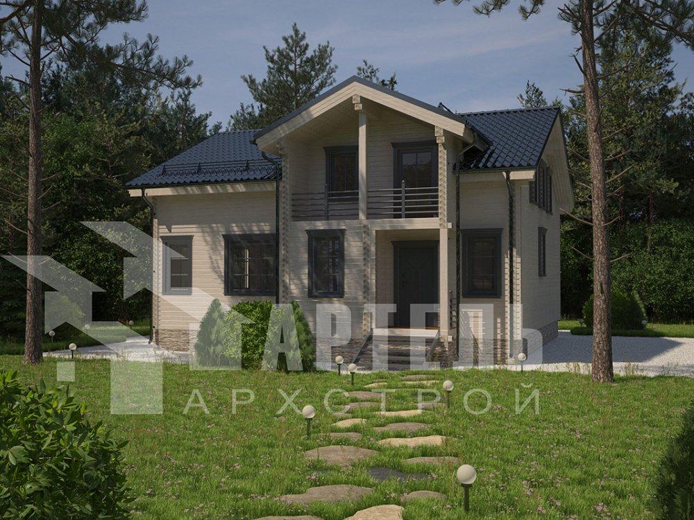 двухэтажный дом из профилированного бруса площадью свыше 200 кв. м. с  балконом, мансардой, террасой, проект Вариант 11 П фотография 4239