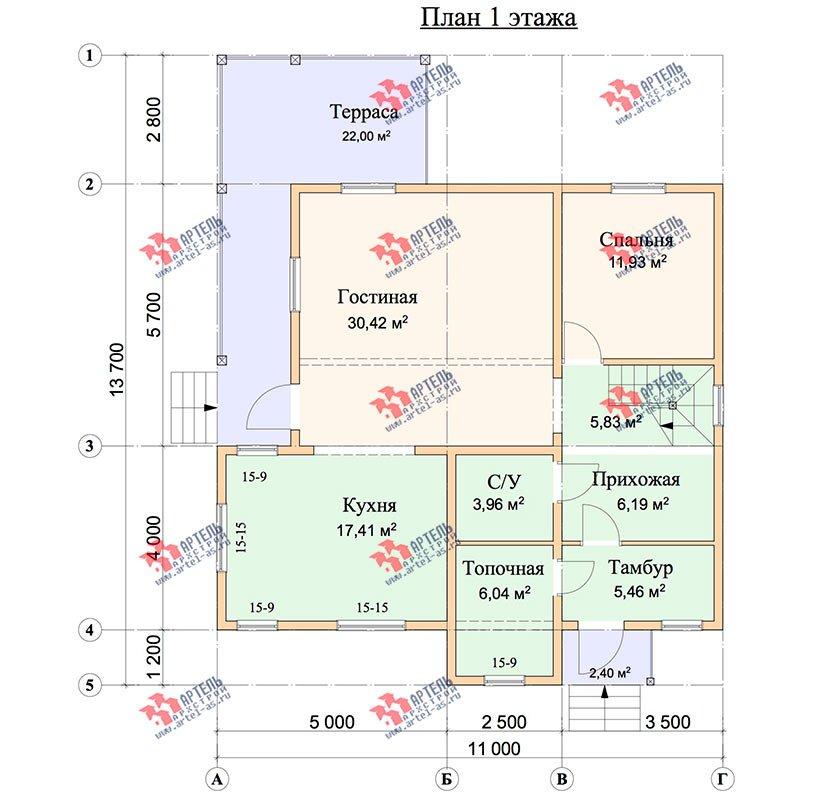 двухэтажный дом из профилированного бруса площадью свыше 200 кв. м. с  балконом, мансардой, террасой, проект Вариант 11 П фотография 3772