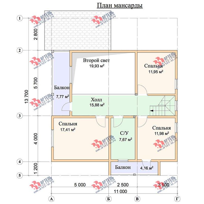 двухэтажный дом из профилированного бруса площадью свыше 200 кв. м. с  балконом, мансардой, террасой, проект Вариант 11 П фотография 3773