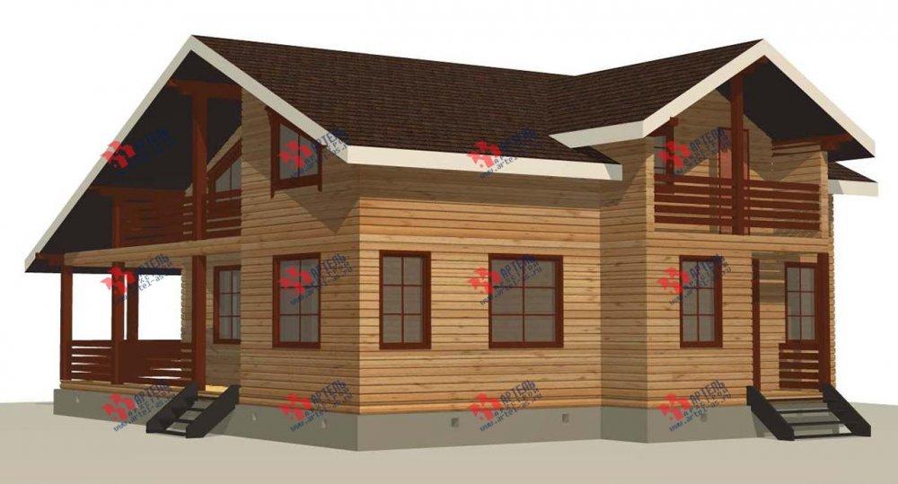 двухэтажный дом из профилированного бруса площадью свыше 200 кв. м. с  балконом, мансардой, террасой, проект Вариант 11 П фотография 3768