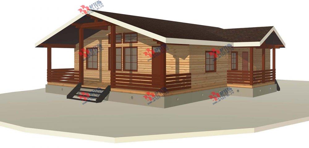 одноэтажный дом из профилированного бруса площадью от 100 до 150 кв. м. с  террасой, проект Вариант 12.4 Б фотография 3954
