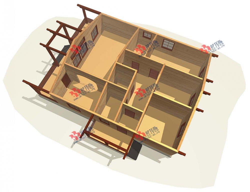 одноэтажный дом из профилированного бруса площадью от 100 до 150 кв. м. с  террасой, проект Вариант 12.4 Б фотография 3958
