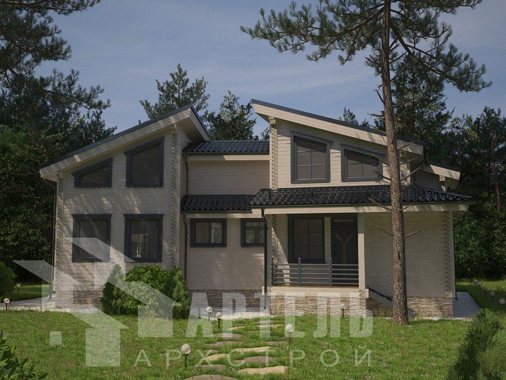 двухэтажный дом из профилированного бруса площадью свыше 200 кв. м. с  террасой, проект Вариант 12.4 В фотография 4896