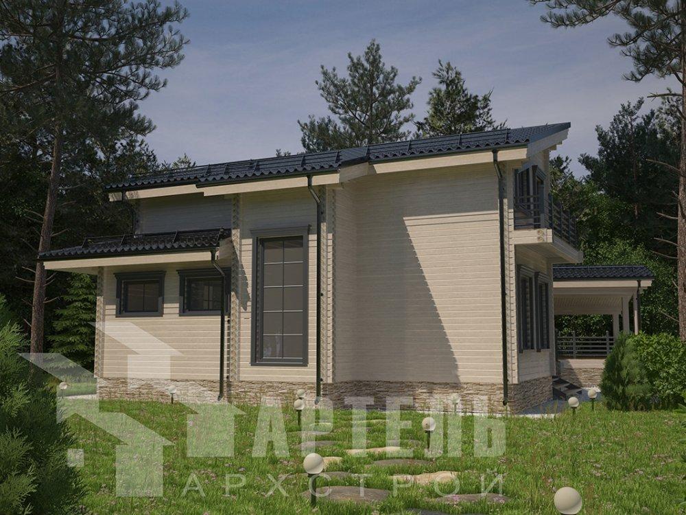 двухэтажный дом из профилированного бруса площадью свыше 200 кв. м. с  террасой, проект Вариант 12.4 В фотография 4894