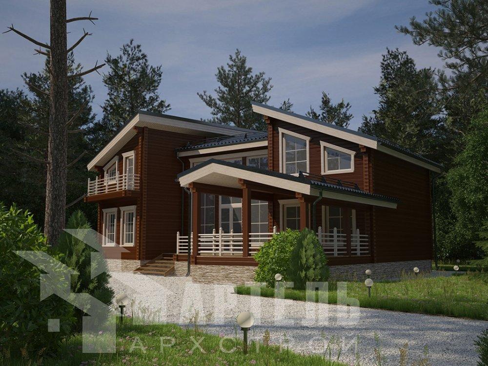 двухэтажный дом из профилированного бруса площадью свыше 200 кв. м. с  террасой, проект Вариант 12.4 В фотография 4892