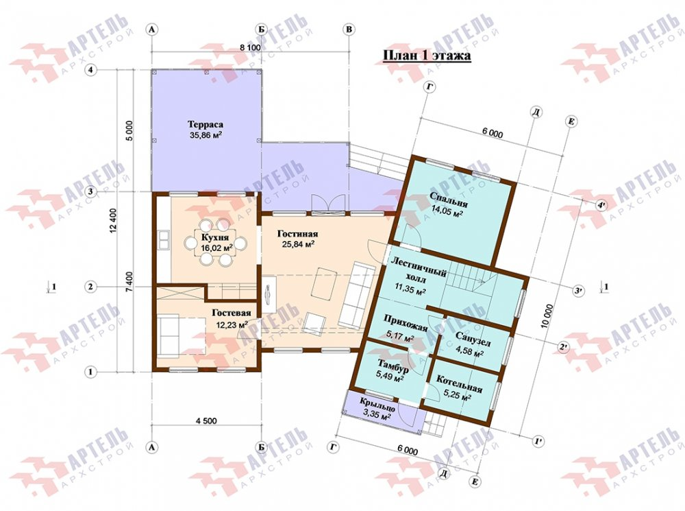 двухэтажный дом из профилированного бруса площадью свыше 200 кв. м. с  террасой, проект Вариант 12.4 В фотография 4901
