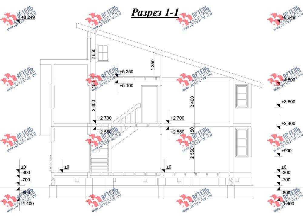 двухэтажный дом из бруса площадью от 150 до 200 кв. м. с  мансардой, террасой, проект Вариант 13 В фотография 2231