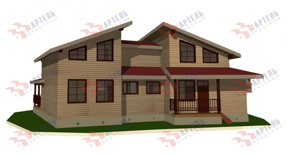 двухэтажный дом из профилированного бруса площадью свыше 200 кв. м. с  террасой, проект Вариант 12.4 В фотография 4898