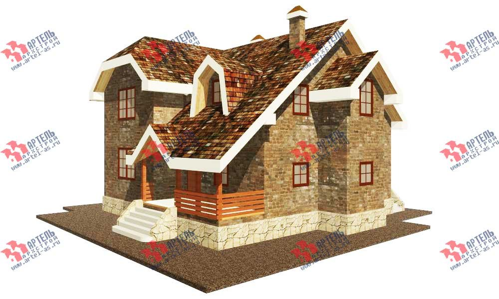 двухэтажный дом из камня площадью от 150 до 200 кв. м. с  террасой, эркером, проект Вариант 12 фотография 559