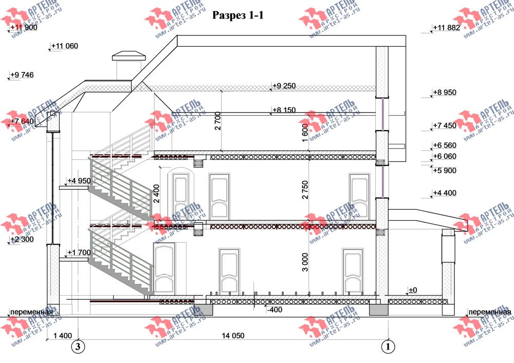 трёхэтажный дом из камня площадью свыше 200 кв. м. с  балконом, мансардой, эркером, проект Вариант 24 фотография 2751