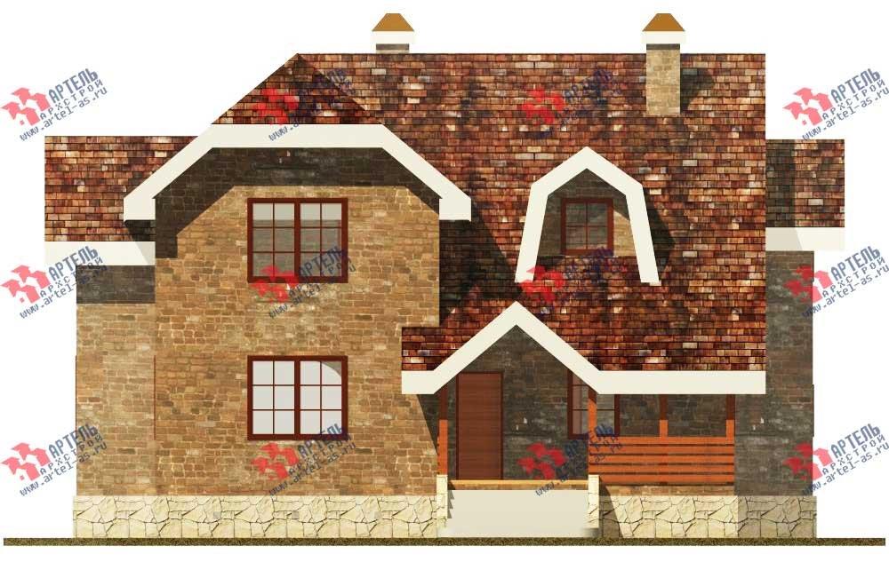 двухэтажный дом из камня площадью от 150 до 200 кв. м. с  террасой, эркером, проект Вариант 12 фотография 560