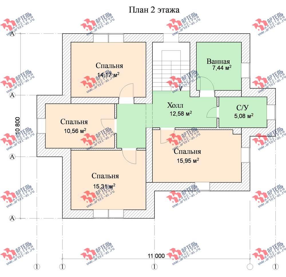 двухэтажный дом из камня площадью от 150 до 200 кв. м. с  террасой, эркером, проект Вариант 12 фотография 567