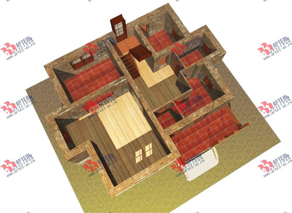 двухэтажный дом из камня площадью от 150 до 200 кв. м. с  террасой, эркером, проект Вариант 12 фотография 564