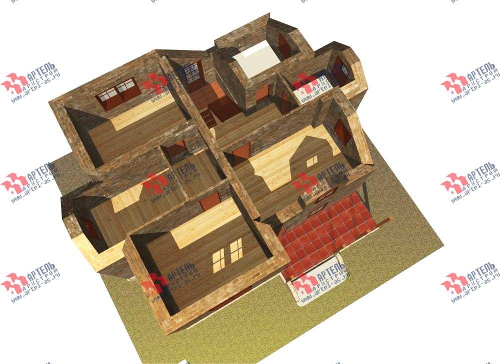 двухэтажный дом из камня площадью от 150 до 200 кв. м. с  террасой, эркером, проект Вариант 12 фотография 565