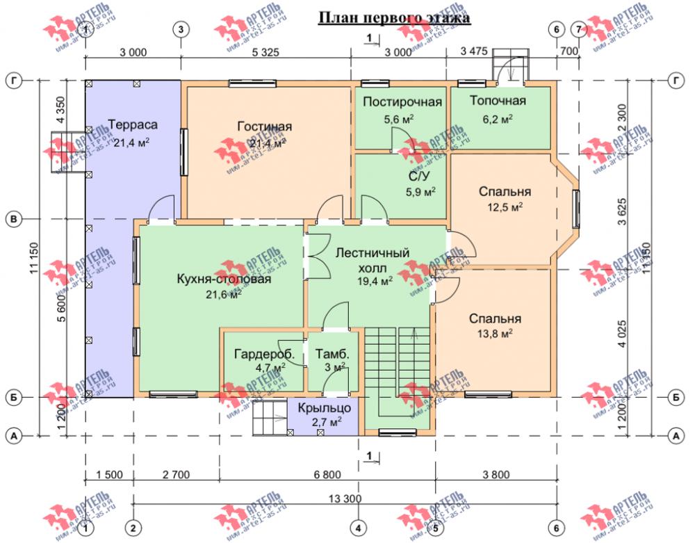 двухэтажный дом из бруса площадью свыше 200 кв. м. с  балконом, террасой, эркером, проект Вариант 13.3 А фотография 3714