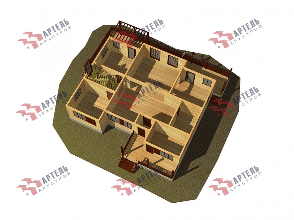 двухэтажный дом из профилированного бруса площадью свыше 200 кв. м. с  верандой, мансардой, проект Вариант 13.7 А фотография 4626