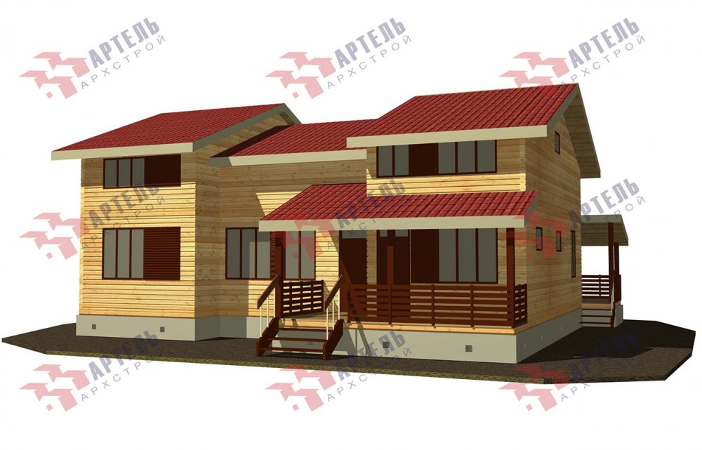 двухэтажный дом из профилированного бруса площадью свыше 200 кв. м. с  верандой, мансардой, проект Вариант 13.7 А фотография 4623
