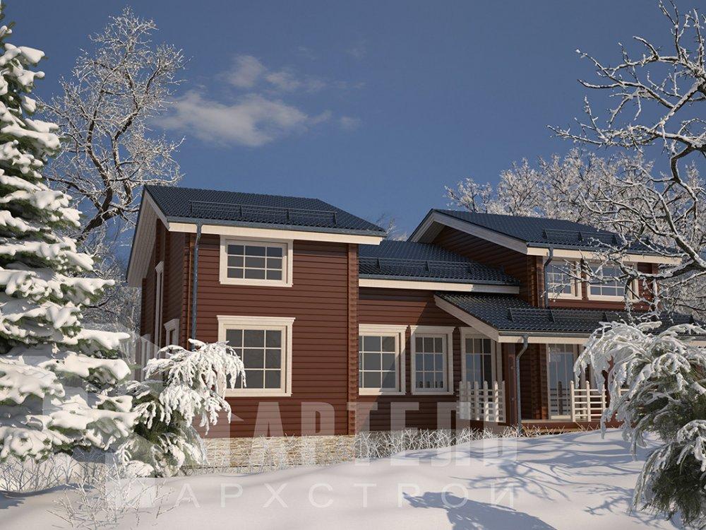 двухэтажный дом из профилированного бруса площадью свыше 200 кв. м. с  верандой, мансардой, проект Вариант 13.7 А фотография 4621