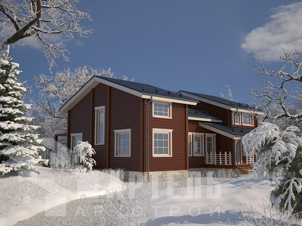 двухэтажный дом из профилированного бруса площадью свыше 200 кв. м. с  верандой, мансардой, проект Вариант 13.7 А фотография 4622