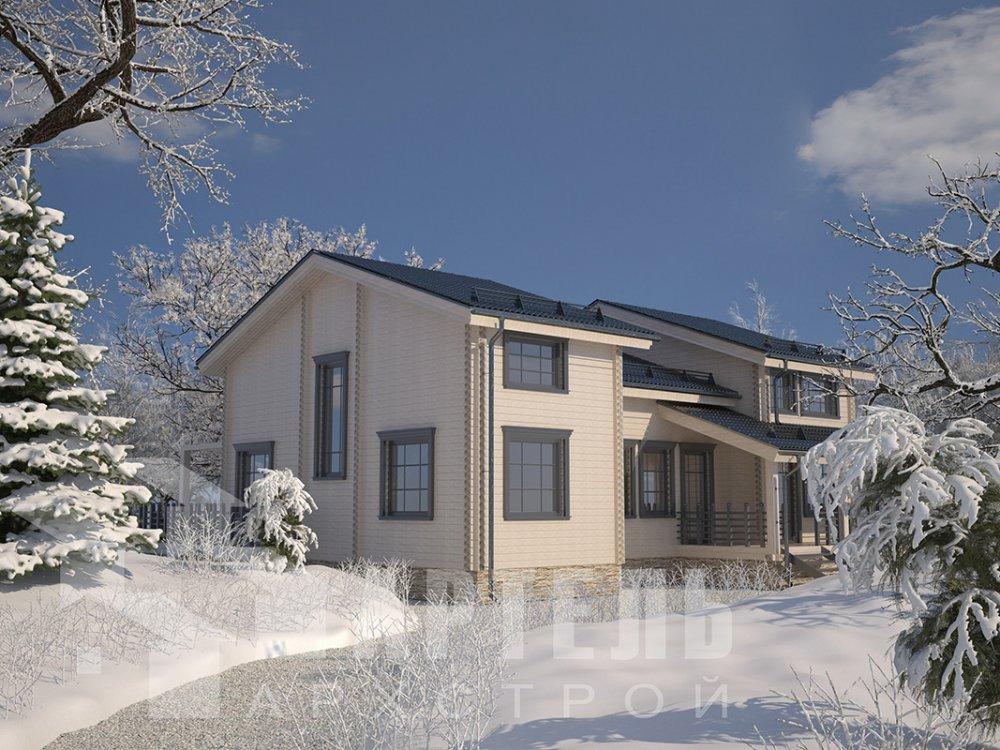 двухэтажный дом из профилированного бруса площадью свыше 200 кв. м. с  верандой, мансардой, проект Вариант 13.7 А фотография 4613