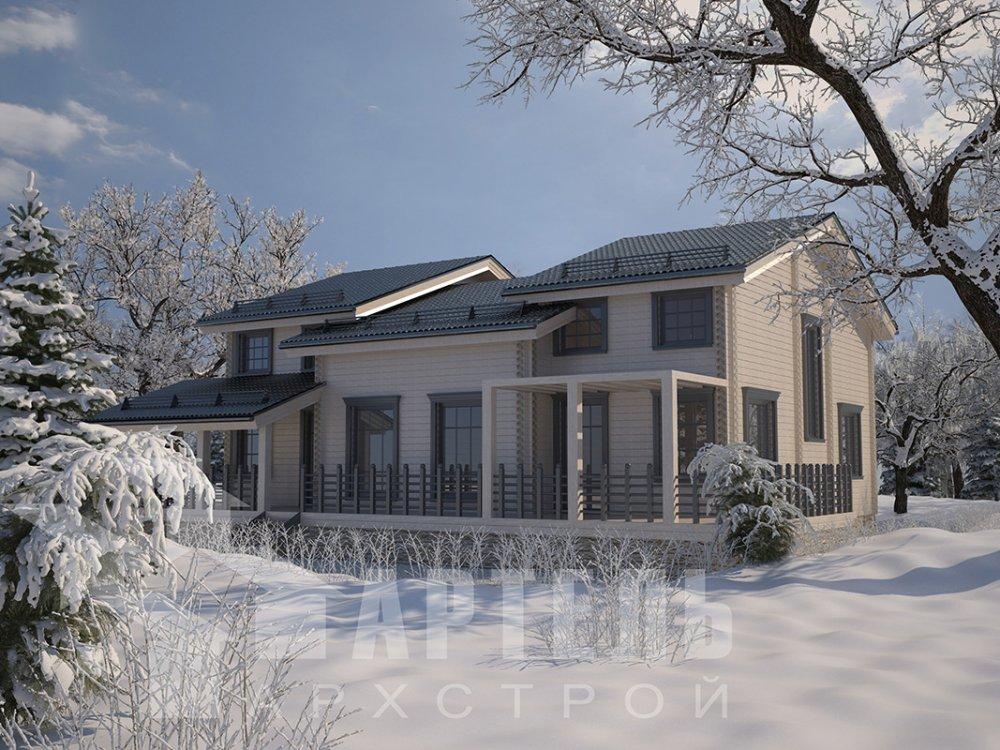 двухэтажный дом из профилированного бруса площадью свыше 200 кв. м. с  верандой, мансардой, проект Вариант 13.7 А фотография 4615