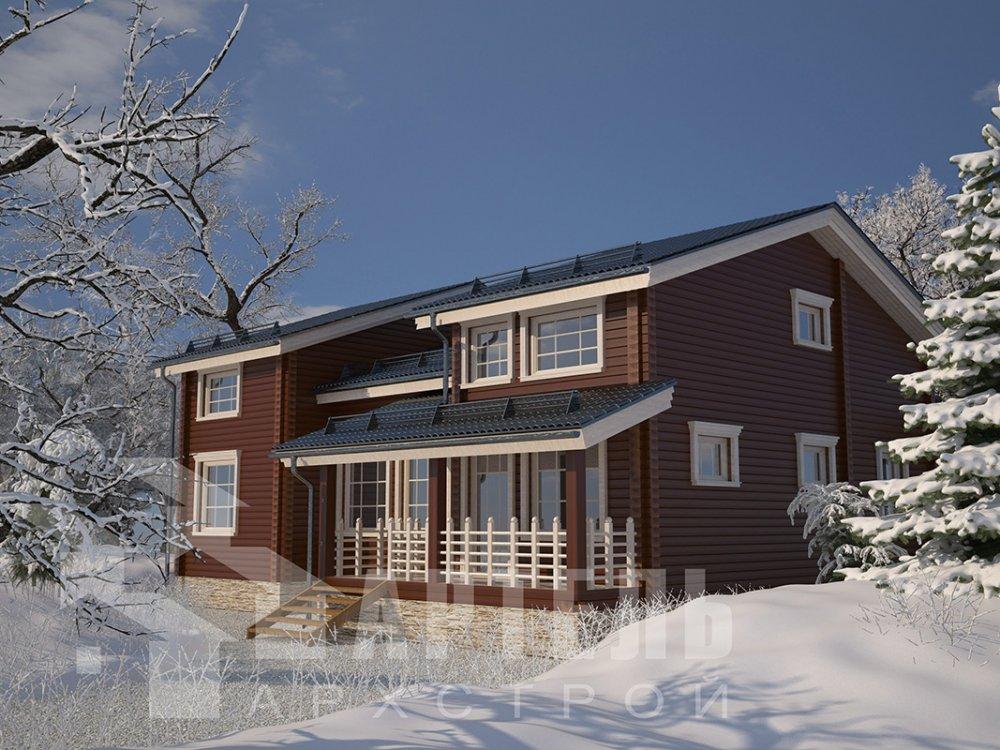 двухэтажный дом из профилированного бруса площадью свыше 200 кв. м. с  верандой, мансардой, проект Вариант 13.7 А фотография 4618
