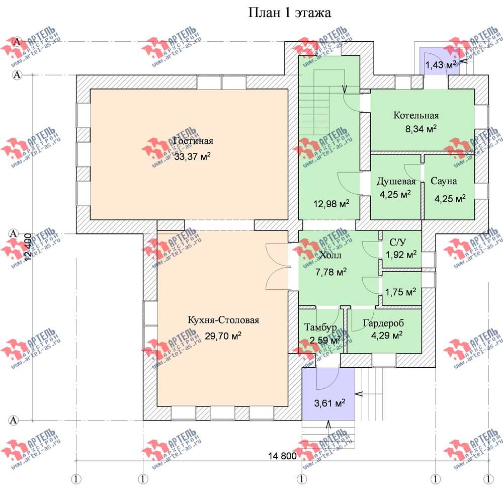 трёхэтажный дом из камня площадью свыше 200 кв. м. с  балконом, мансардой, эркером, проект Вариант 13 фотография 576