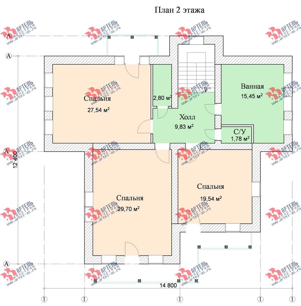 трёхэтажный дом из камня площадью свыше 200 кв. м. с  балконом, мансардой, эркером, проект Вариант 13 фотография 577