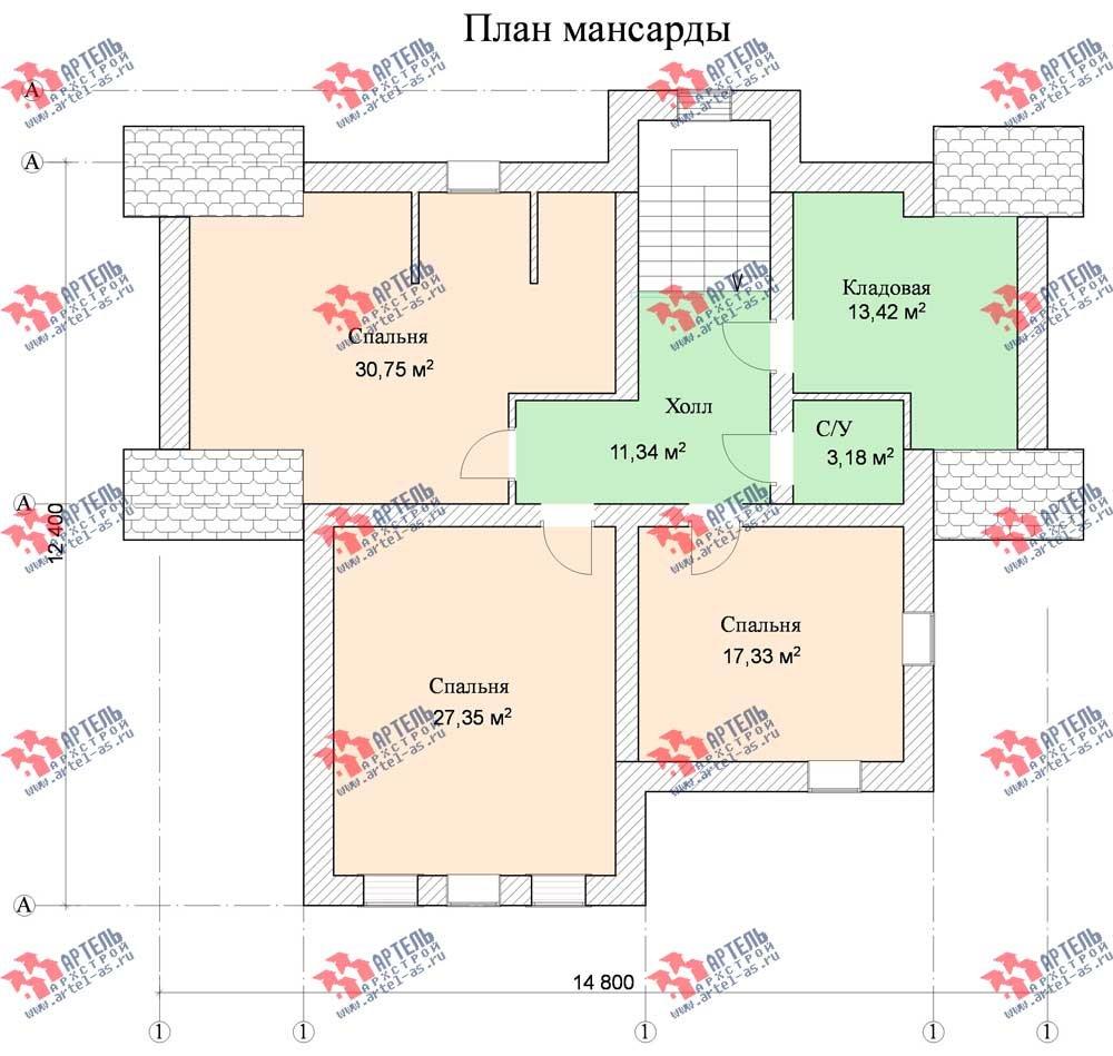 трёхэтажный дом из камня площадью свыше 200 кв. м. с  балконом, мансардой, эркером, проект Вариант 13 фотография 578
