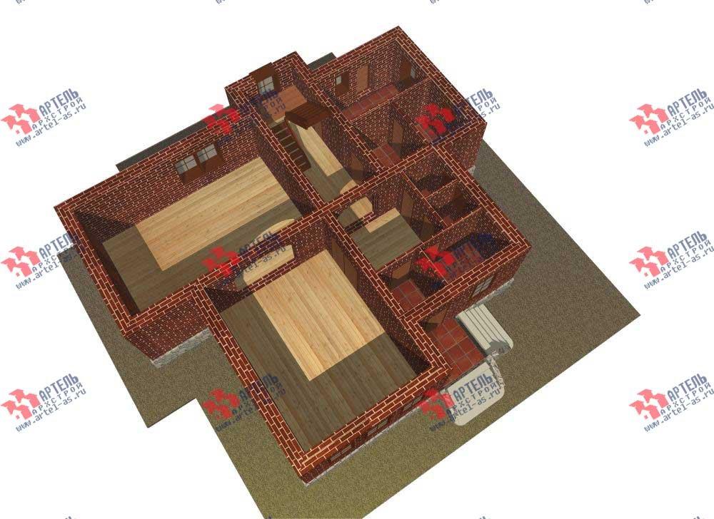 трёхэтажный дом из камня площадью свыше 200 кв. м. с  балконом, мансардой, эркером, проект Вариант 13 фотография 573