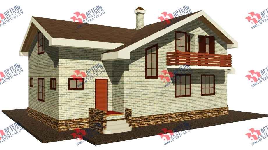 двухэтажный дом из камня площадью от 150 до 200 кв. м. с  балконом, эркером, проект Вариант 14 фотография 580