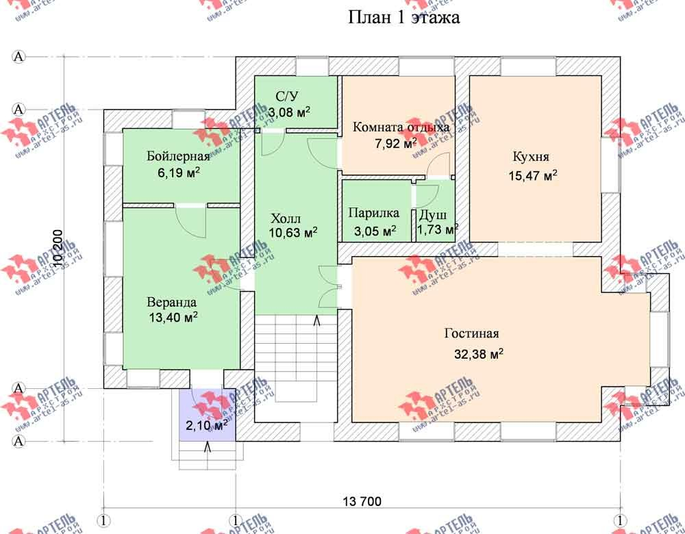 двухэтажный дом из камня площадью от 150 до 200 кв. м. с  балконом, эркером, проект Вариант 14 фотография 587