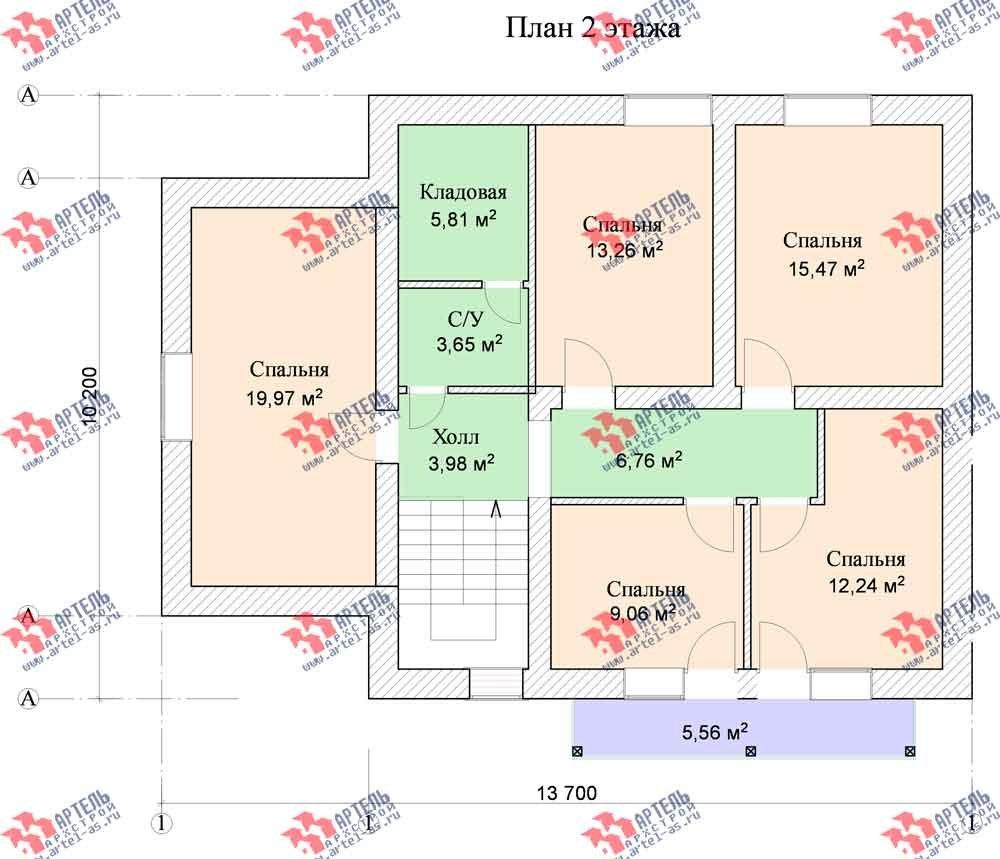 двухэтажный дом из камня площадью от 150 до 200 кв. м. с  балконом, эркером, проект Вариант 14 фотография 588