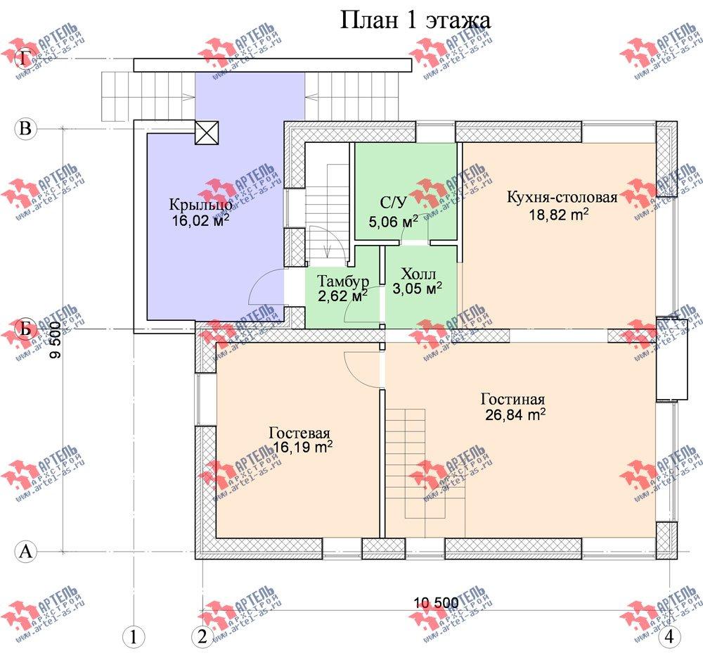 двухэтажный дом из камня площадью от 150 до 200 кв. м. с  балконом, проект Вариант 15 фотография 598