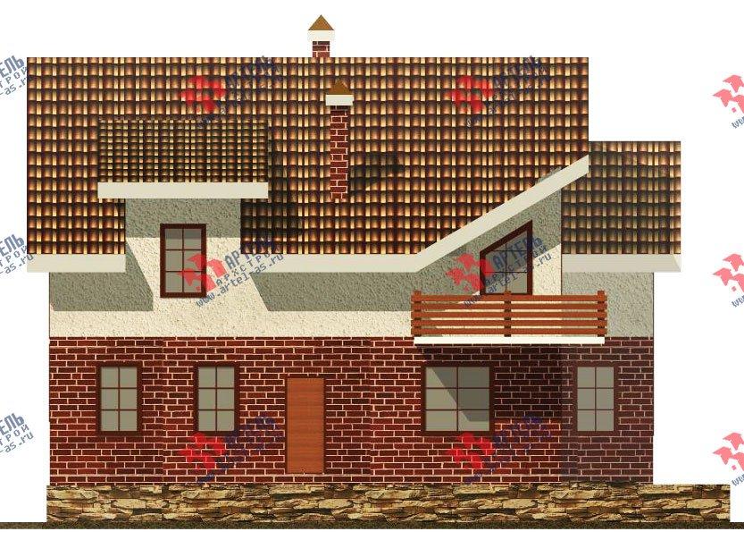 двухэтажный дом из камня площадью свыше 200 кв. м. с  балконом, террасой, проект Вариант 16 фотография 604