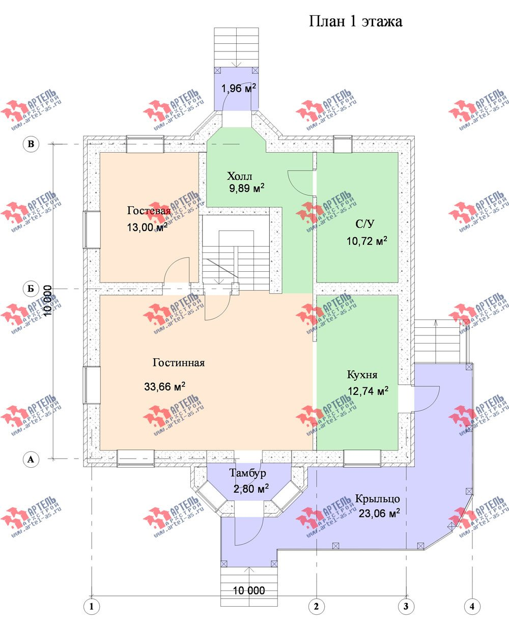 двухэтажный дом из камня площадью от 150 до 200 кв. м. с  террасой, эркером, проект Вариант 18 фотография 631