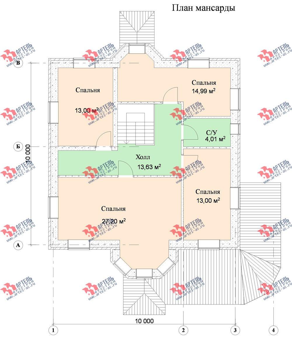 двухэтажный дом из камня площадью от 150 до 200 кв. м. с  террасой, эркером, проект Вариант 18 фотография 632