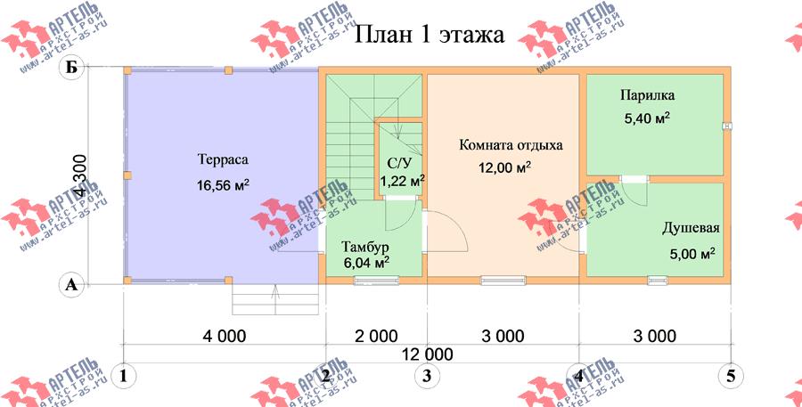 двухэтажный дом из профилированного бруса площадью до 100 кв. м., проект Вариант 7 фотография 3348