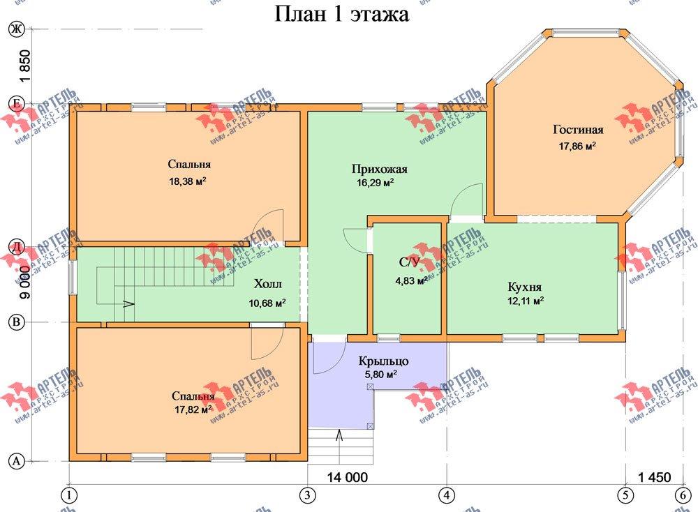 двухэтажный дом из профилированного бруса площадью от 150 до 200 кв. м. с  балконом, мансардой, эркером, проект Вариант 9 Е-1 фотография 2599