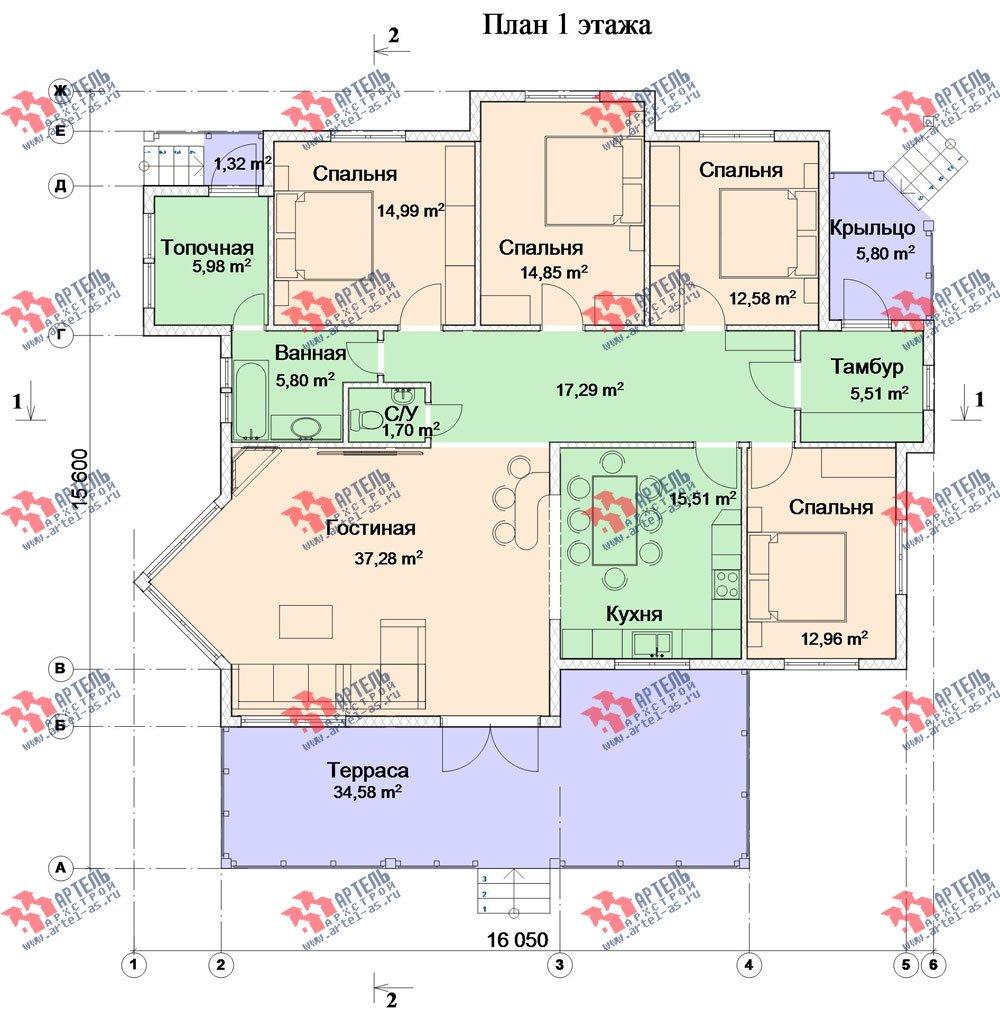 одноэтажный дом из профилированного бруса камерной сушки площадью от 150 до 200 кв. м. с  террасой, эркером, проект Вариант 5 фотография 2673