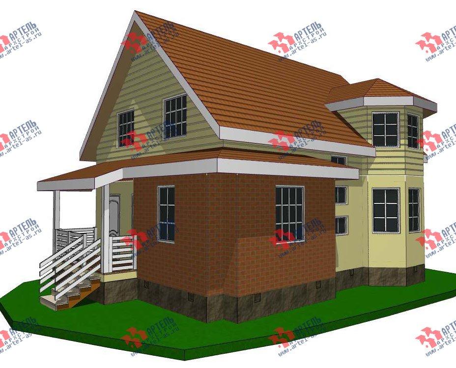 двухэтажный дом из профилированного бруса камерной сушки площадью от 100 до 150 кв. м. с  мансардой, эркером, проект Вариант 7 фотография 2797