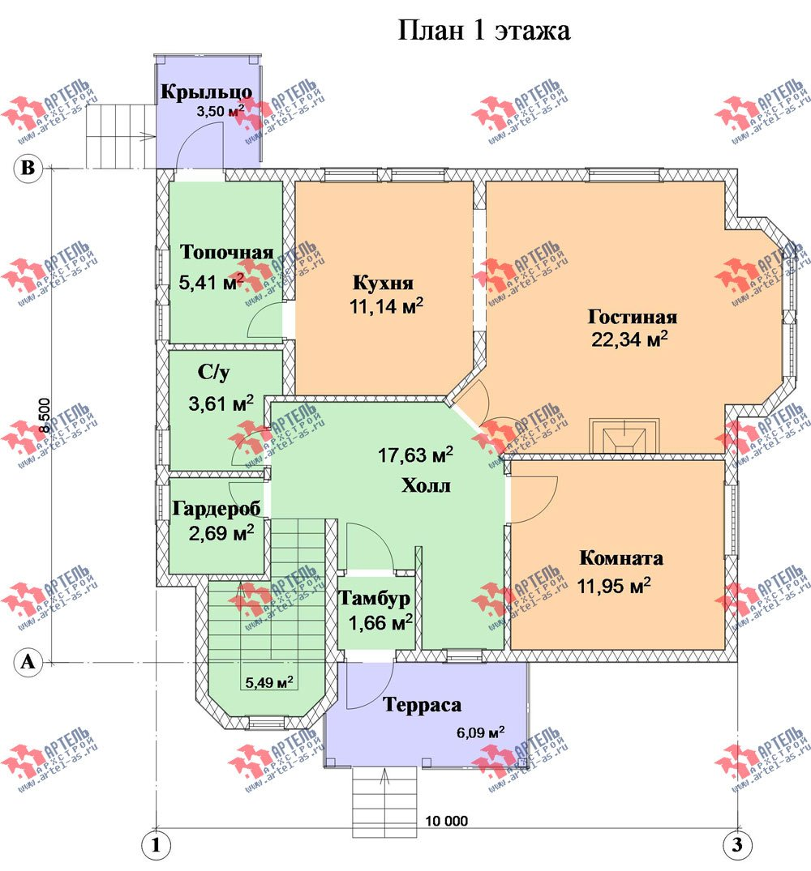 двухэтажный дом из профилированного бруса камерной сушки площадью от 150 до 200 кв. м. с  террасой, эркером, проект Вариант 8 фотография 2815