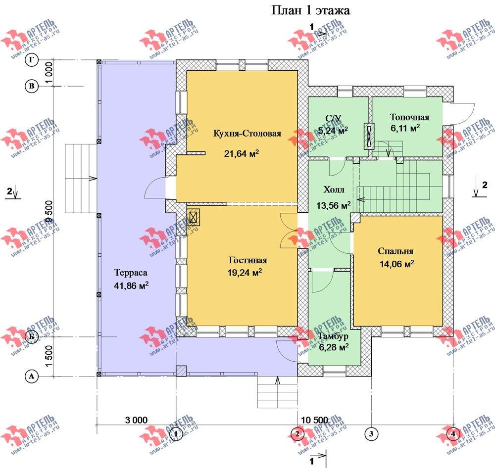 двухэтажный дом из камня площадью свыше 200 кв. м. с  балконом, террасой, проект Вариант 27 фотография 2941