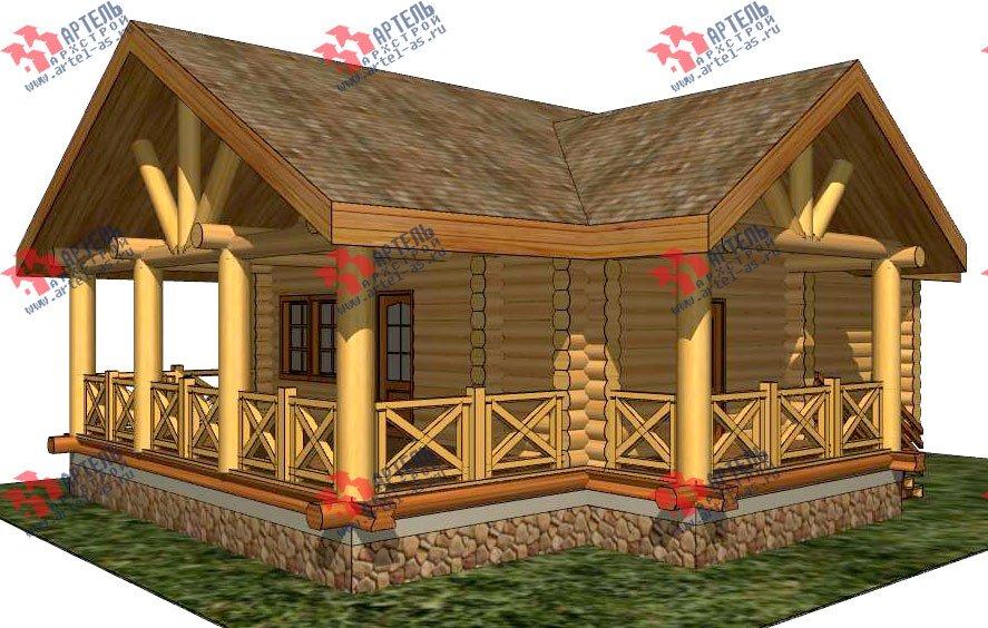 одноэтажный дом из оцилиндрованного бревна площадью до 100 кв. м. с  террасой, проект Вариант 2 фотография 3034