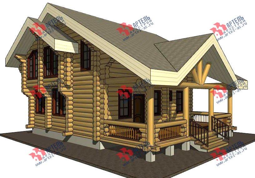 двухэтажный дом из оцилиндрованного бревна площадью от 100 до 150 кв. м. с  террасой, проект Вариант 4 фотография 3055