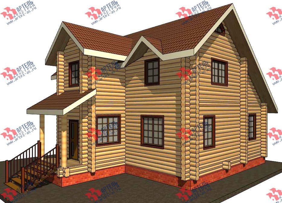 двухэтажный дом из оцилиндрованного бревна площадью от 100 до 150 кв. м. с  террасой, проект Вариант 6 фотография 3090