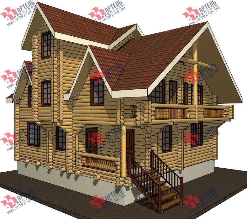 трёхэтажный дом из оцилиндрованного бревна площадью свыше 200 кв. м. с  балконом, террасой, проект Вариант 5 фотография 3077