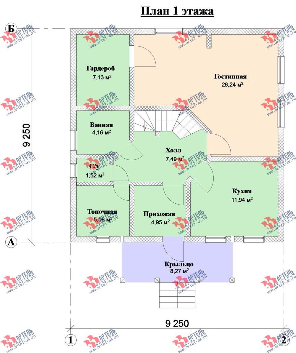 двухэтажный дом из камня площадью от 150 до 200 кв. м. с  балконом, проект Вариант 7 фотография 3140